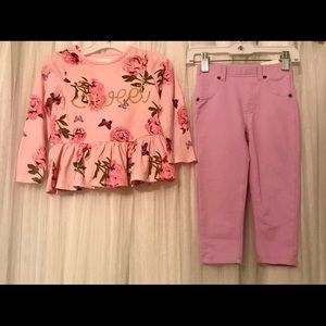 """Girls Floral Peplum """"Sweet"""" Top with Jeggings"""